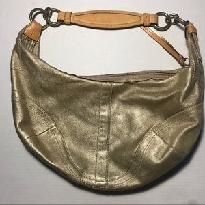 Gold coach suede material coach banana bag